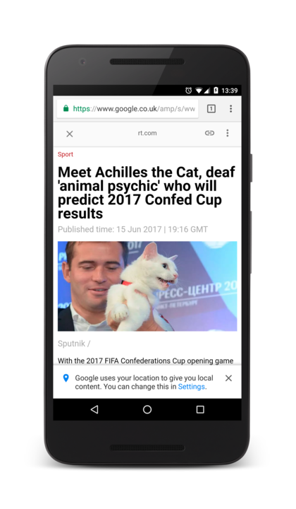 Screenshot of AMP's RT article, headline: Meet Achilles the Cat, deaf animal psychic