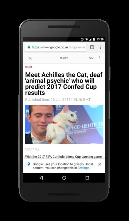 Screenshot of AMP's RT article, headline: Meet Achilles the Cat, deaf animal psychic